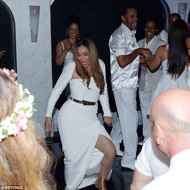 That's where she gets it from: There was also a picture posted of the bride, Tina Knowles, showing her best dance moves