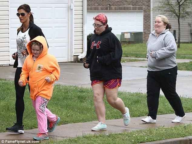 Getting in shape: Honey Boo Boo, Pumpkin and Mama June were seen working out with a personal trainer near their Georgia home on Thursday