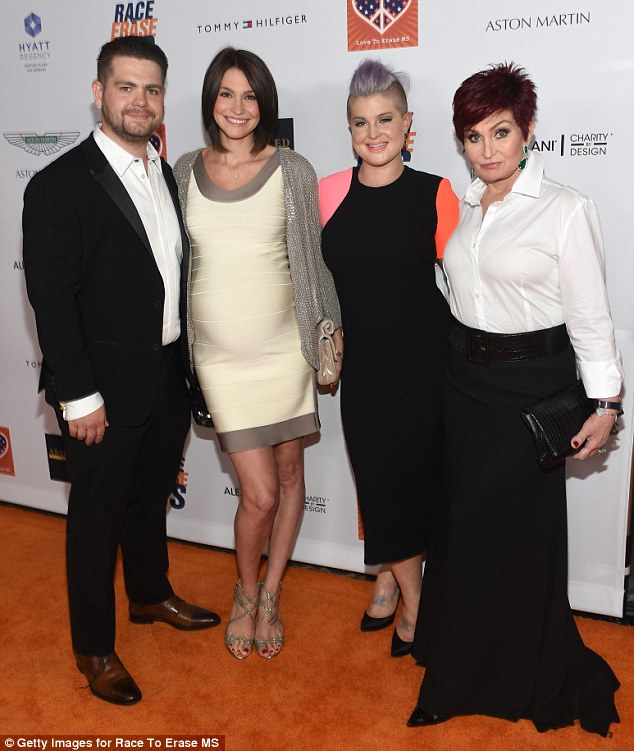Family night: Jack Osbourne, left, his wife Lisa Stelly, second left, sister Kelly Osbourne, second right, and mother Sharon Osbourne, far right, were spotted together at the 2015 gala