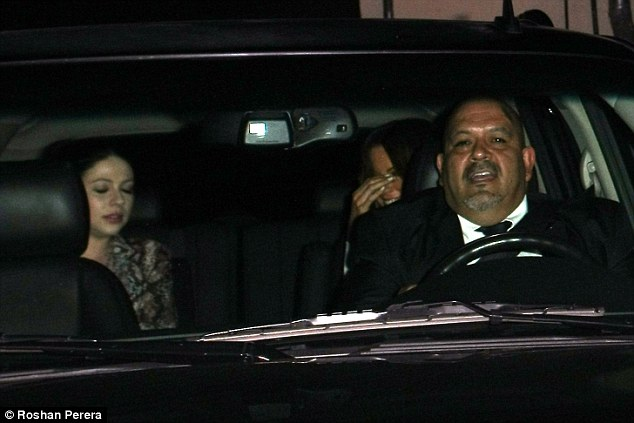 Carpooling: The ladies were seen arriving separately and then leaving together in the backseat of the same vehicle