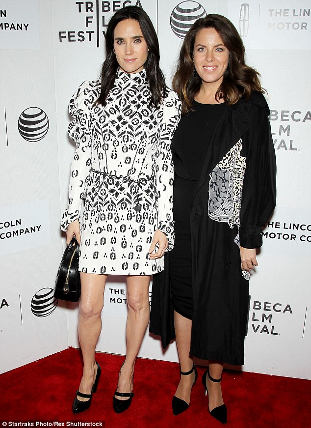 Teamwork: The stunning star was happy to pose alongside writer/director Claudia Llosa, right