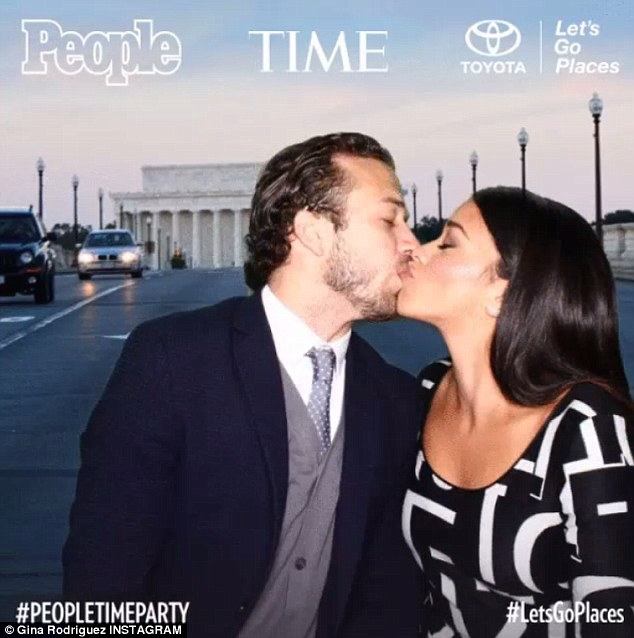 Lovey dovey: Gina, 30,was joined by her boyfriend, Revenge alum Henri Esteve, with whom she posed in a series of images posted to Instagram, including one sharing a kiss
