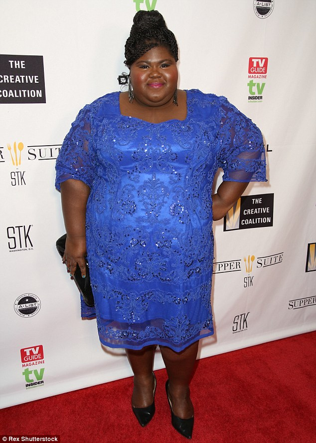 Beautiful in blue: American Horror Story starGabourey Sidibe oozed glamour in a bright blue dress featuring exquisite designs at the Creative Coalition soiree