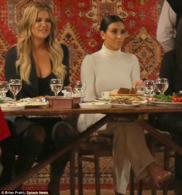 Treated like royalty: Kim and Khloe were treated to a special dinner with locals in Armenia