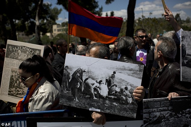Armenians demonstrate in front of the Turkish consulate in Jerusalem, Israel. In February, Armenia, a poor country of 3.2 million that for decades was part of the Soviet Union, withdrew landmark peace accords with Turkey from parliament