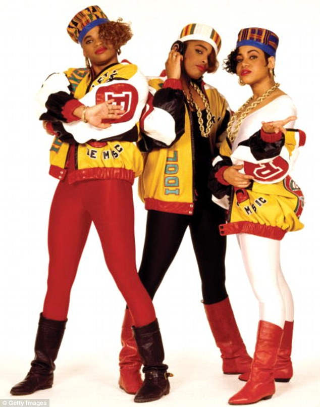 Real versions: While Mike could not pass for the real Salt N Pepa (above in 1987), he was clearly inspired by their wardrobe choices