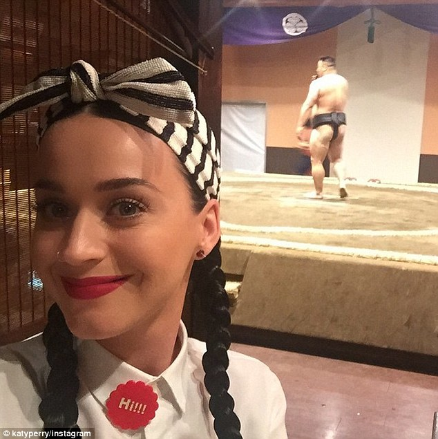 Sumo wrestaurant: Katy Perry posted a selfie from a Sumo-themed restaurant on Friday as she prepared to kick off the Asian leg of her Prismatic World Tour