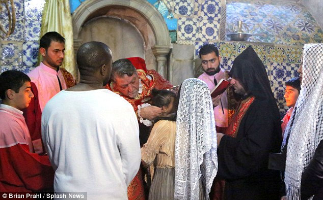 Baptism traditions: North had Holy water poured on her head, and was also given a cross, as Kim later admitted she was 'thankful' for the special event