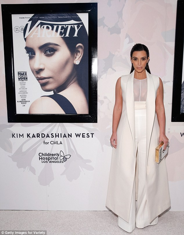 Check it out: Kim posed proudly beside her cover for Variety's special Power Of Women issue