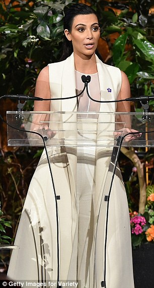 Commanding attention: Kim addressed the crowd of successful women as she spoke on stage