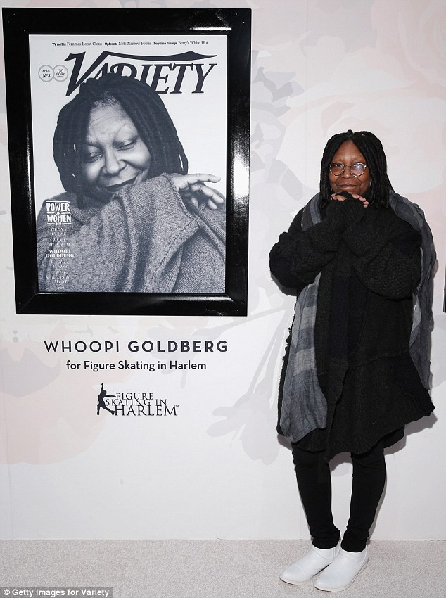 Raising awareness: Whoopi was honoured for her work with nonprofit Figure Skating In Harlem, which teaches young girls academic and leadership skills through figure skating