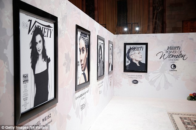 The famous five: Lining the wall as attendees made their arrival were the five covers for Variety's Power Of Women issue