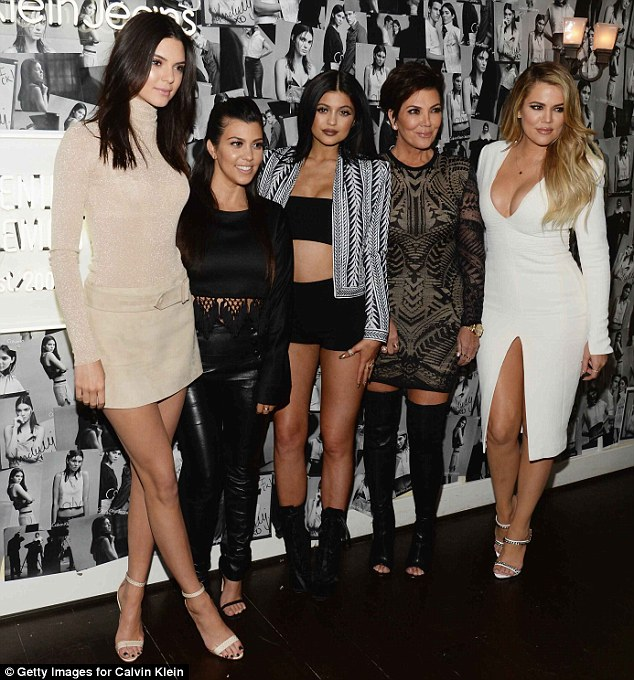 Superstar line-up: Kendall was joined by her famous family, (L-R) Kourtney Kardashian, Kylie Jenner, Kris Jenner and Khloe Kardashian, as she attended the celebration launch of the #mycalvins denim series at Chateau Marmont later in the evening