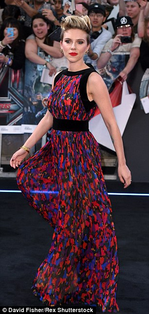 Whirl of a time: The star appeared in a beautiful colorful printed gown at the 'Avengers: Age of Ultron' film premiere in London