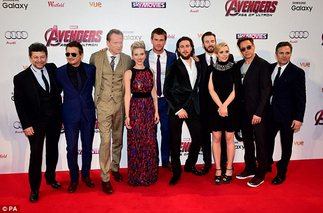 Star studded: The cast of the Avengers stood together for a photo at their film premier in London