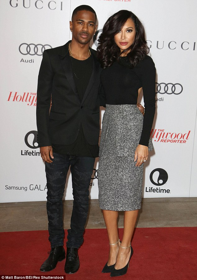 Past romance: Big Sean was engaged to Naya Rivera, right, before dating Ariana; here they are pictured in December 2013