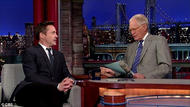 Proud dad: Robert Downey Jr appeared on David Letterman's Late Show on Thursday and could not help but gush about his little girl