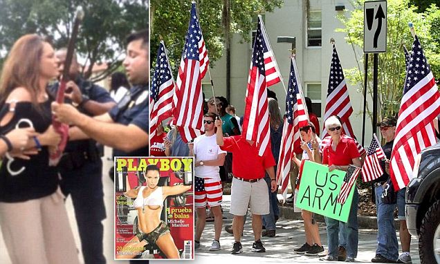 Hundreds rally in support of playboy air force vet who was arrested for taking on flag