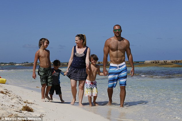 Soaking up the sun: The close clan was seen on an oceanfront stroll as they celebrated the actress' 39th bday