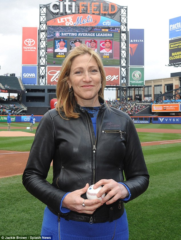Ball girl: Edie Falco threw out the first pitch before the game between her New York Mets and the Atlanta Braves at Citi Field in Flushing, New York, on Thursday