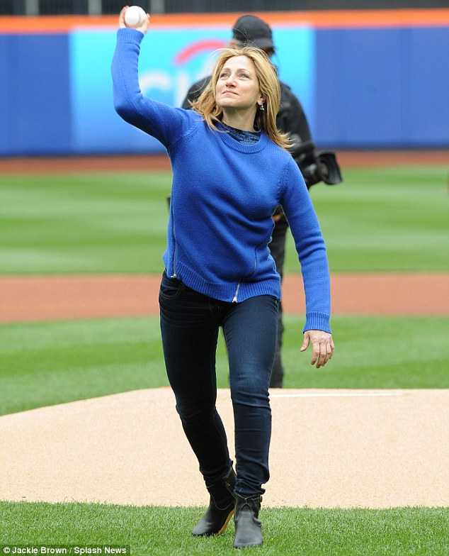 She's got it: Edie whipped it over her head in an attempt to copy the fast ball style of Mets' pitchers like Matt Harvey and John Niese