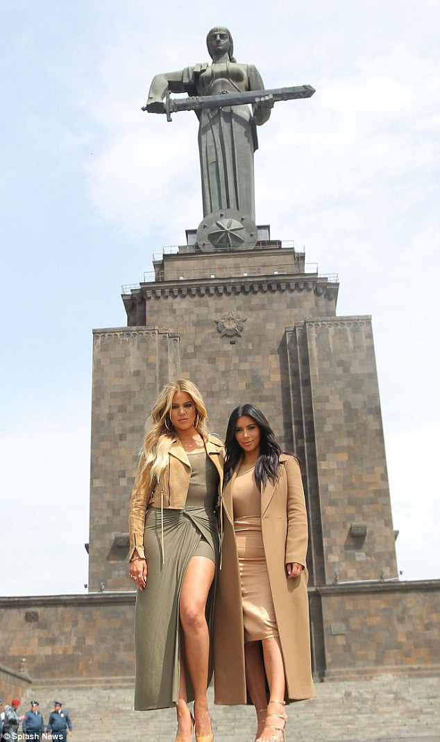 Kim and her sister Khloe visit Mother Armenia Statue in Armenia during a visit that took in many sites