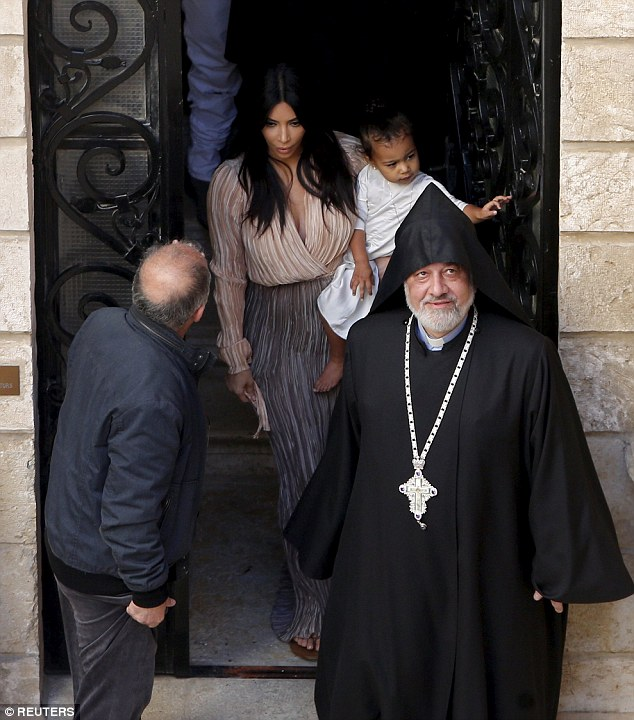 Kim  had North West baptised at a 12th century church, Saint James Cathedral, in the old city in Israel