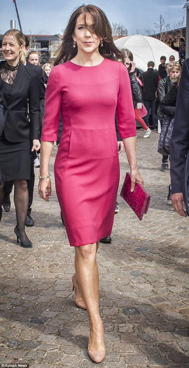 Stunner: Princess Mary was wonderfully windswept while attending the opening of a research festival at the Technical University of Denmark in Lyngby on Thursday
