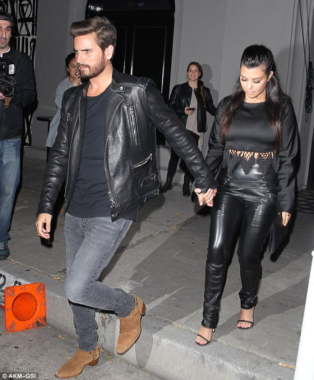 Coordinated: Scott matched Kourt with his black leather jacket, which he teamed with jeans and boots