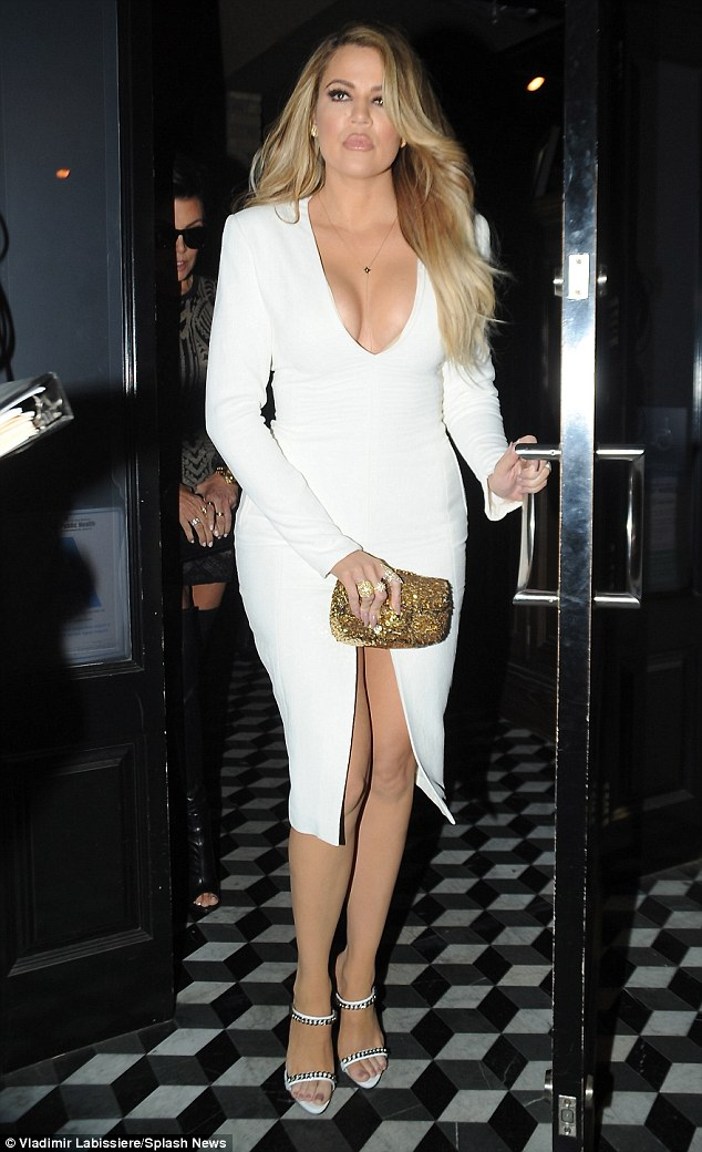 Curves on display: Khloe was not shy about displaying her ample cleavage and curvy assets