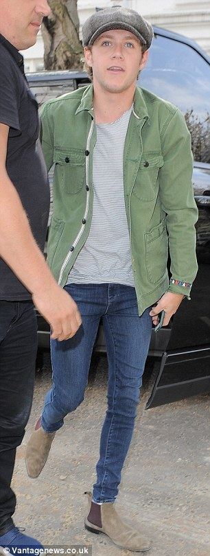 Fresh-faced: Niall looked fresh-faced, despite having left the same studio in the early hours of the morning