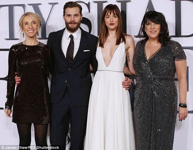 Creative tensions: Fifty Shades of Grey director Sam Taylor-Johnson, left, is shown with stars Jamie Dornan, Dakota Johnson and James at the film's London premiere