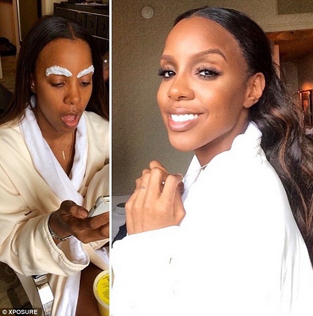 Before and after: Kelly Rowland revealed her backstage beauty regime in an Instagram snap on Thursday