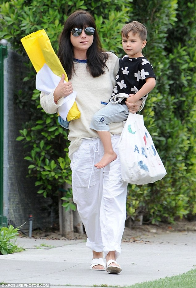 Designer in the making? Selma Blair stepped out with her son Arthur in Hollywood on Thursday, the cute toddler carrying his personally made cloth bag