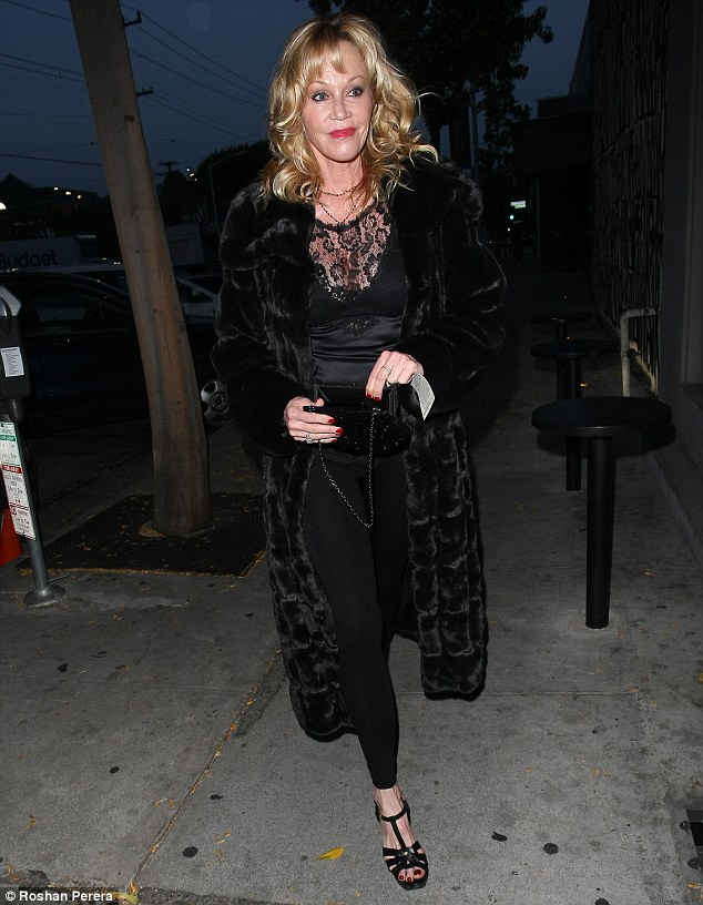 Party scene: Melanie Griffith was pictured making her way to Craig's restaurant for celebrate Joanna Krupa's birthday after making an appearance at the Calvin Klein launch on Thursday