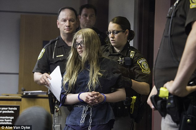 Charged: Morgan Geyser is seen here in a Wisconsin court room in June 2014 as she was arraigned for the attempted murder of Payton Leutner. Geyser's attorney's now say she is schizophrenic