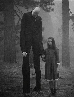 Unnerving: The Slender Man with one of his chosen victims as depicted in a popular online meme