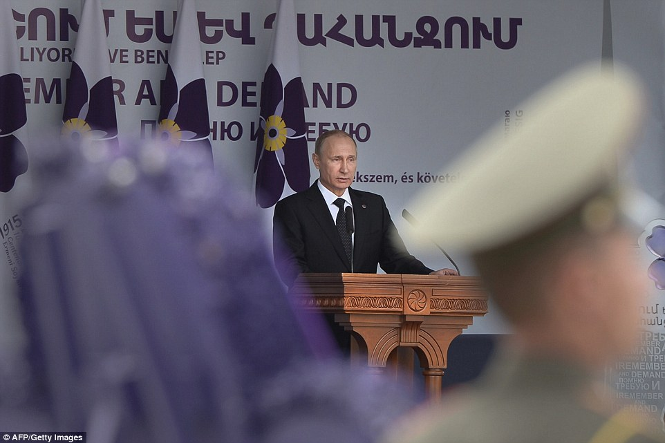 Putin gives a speech during the commemoration ceremony for the  genocide