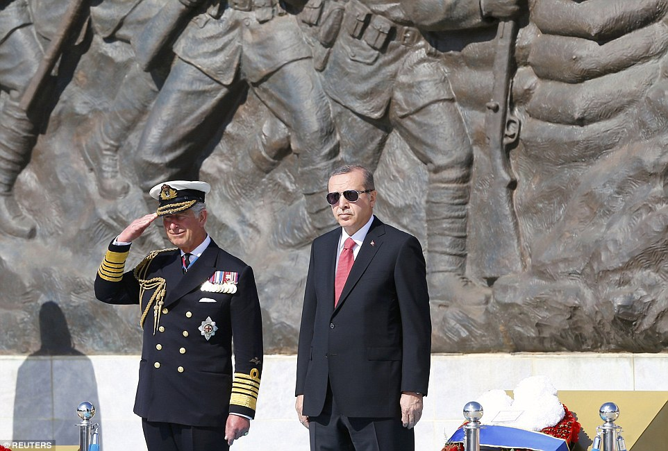 Prince Charles salutes while standing next to Turkey's President Tayyip Erdogan as they mark the 100th anniversary of the Battle of Gallipoli