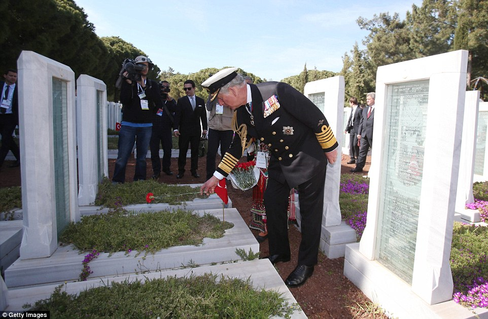 Prince Charles lays flowers in a garden of remembrance at the Abide memorial in Turkey during Gallipoli commemorations this afternoon