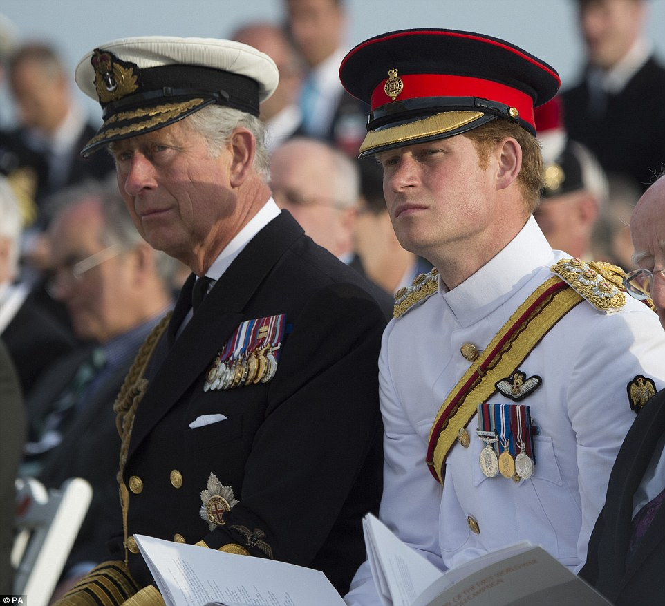 Prince Charles sat next to his youngest son Prince Harry, as Prince William is on standby for the imminent arrival of the new royal baby