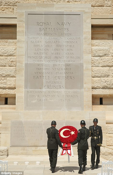 Turkish soldiers rehearse laying a wreath at the Helles Memorial, which commemorates Commonwealth soldiers killed in the Gallipoli campaign, prior to one of the main commemorative ceremonies in Seddulbahir, Turkey