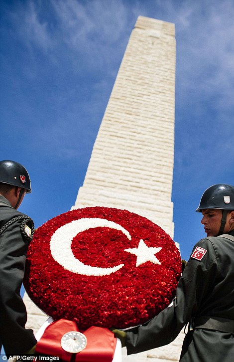 Turkish Army soldiers rehearse their movements at the Helles Memorial