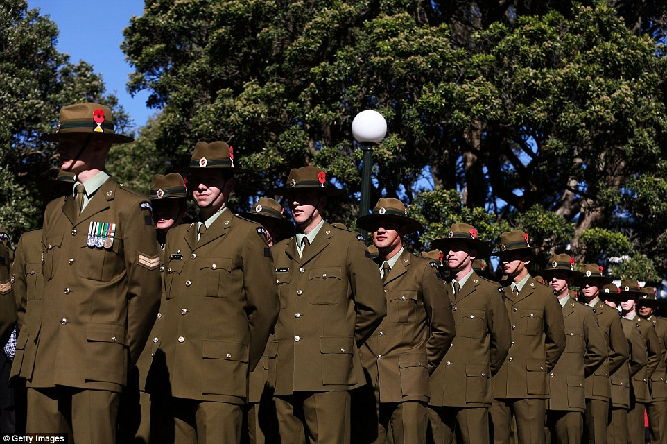 Respect: Soldiers line up during the Anzac Day eve street parade in Wellington, New Zealand to mark the centenary of the Gallipoli landings