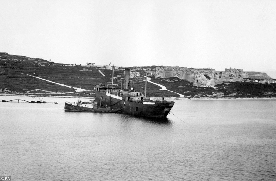 SS River Clyde: The former collier ship (pictured in 1919) was supposed to sail straight onto the shore and spill thousands of men onto the Ottoman Empire's shores, but it beached 80yds out on arrival in April 1915