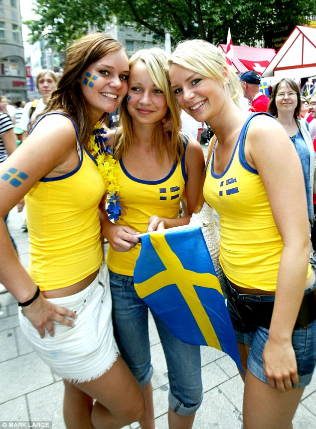 Happiness: The top 10 on the list is dominated by nations from Scandinavia. Citizens of these countries, such as Swedish nationals (pictured) are unsurprisingly also among the wealthiest on the planet too