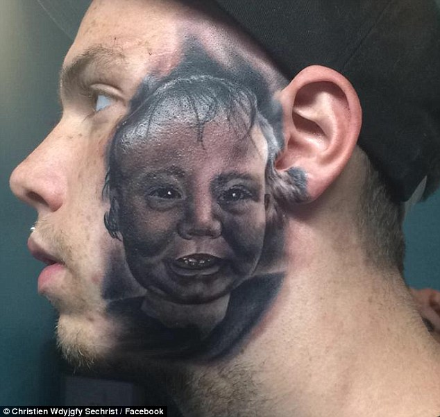 Bold statement: Christien Sechrist (pictured) has a large tattoo of his son's portrait on his own face