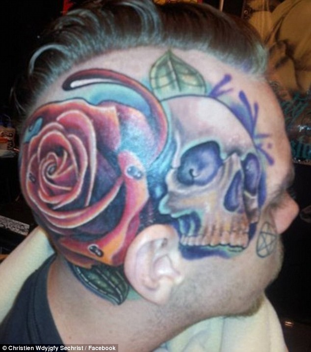 Artistic expression: Christien already has a large tattoo design on the right of his face and the back of his head (pictured)