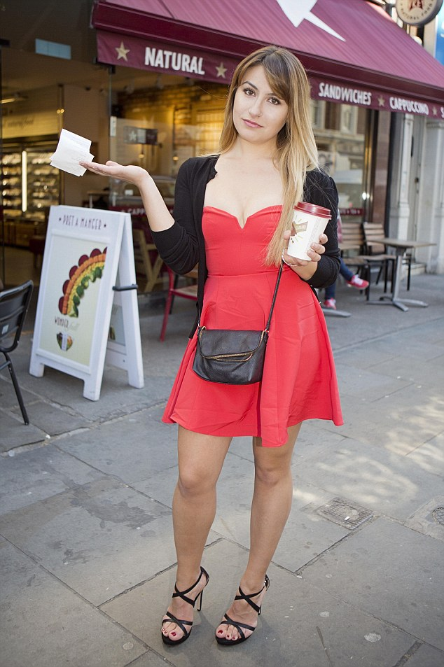 FEMAIL writer Deni Kirkova travelled to four different Pret A Manger shops in London to find out what it takes to get a free coffee from staff. Here she is after failing to secure a freebie at theirGloucester Road store