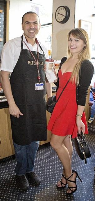 Deni Kirkova gets a free mocha from, Nacer, at Pret A Manger, Victoria